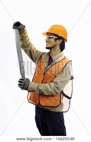 hardhat  workman with duct tape