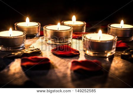 6 Romantic Tealights On Slate With Rose Petals And Leafs