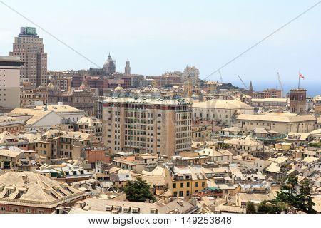 Genoa Cityscape Panorama Seen From Spianata Castelletto, Italy