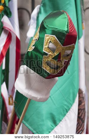 Luchador Mask in Mexican Independence day celebration