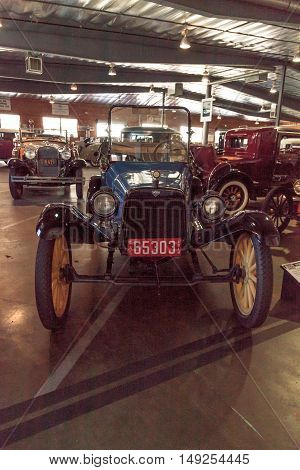 El Segundo, CA, USA - September 26, 2016: Blue 1914 Saxon displayed at the Automobile Driving Museum in El Segundo, California, United States. Editorial use only.
