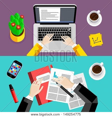 Business office and workspace background set, vector illustrations. Business people working at office desk with laptop, paperwork, smartphone, coffee cup and other objects, top view. Workplace concept