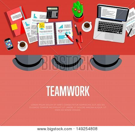 Teamwork concept. Top view office workspace, vector illustration. Business workplace with laptop, smartphone, financial documents, coffee cup and other objects on table. Collaboration and partnership