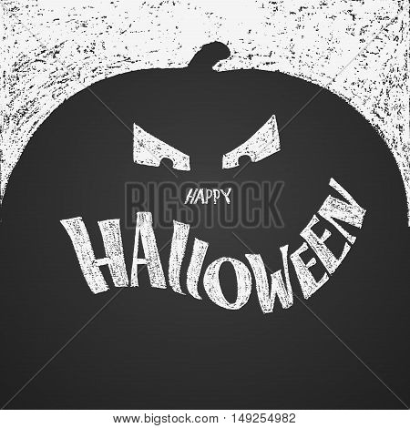 Happy Halloween chalk lettering with pumpkin. Eps8. RGB. Global colors