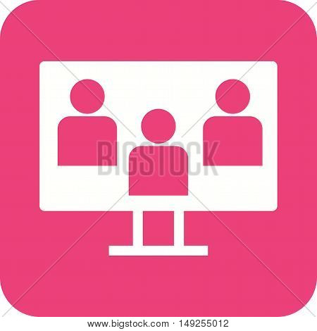 Students, discussion, online icon vector image. Can also be used for E Learning. Suitable for mobile apps, web apps and print media.