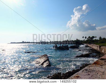 Sea wall in Bay of Pigs, Cuba
