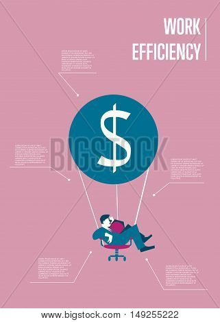 Young businessman flying on hot air balloon with office chair instead of basket. Work efficiency infographics template, vector illustration. Abstract work smarter concept with space for text