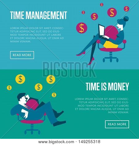 Business woman with laptop sitting in office chair on blue background. Businessman with smartphone sitting in office chair on green background. Time management and time is money website templates.
