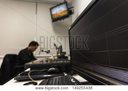 Operation of studio recordingFocus in monitor taken close up with a shallow depth of field