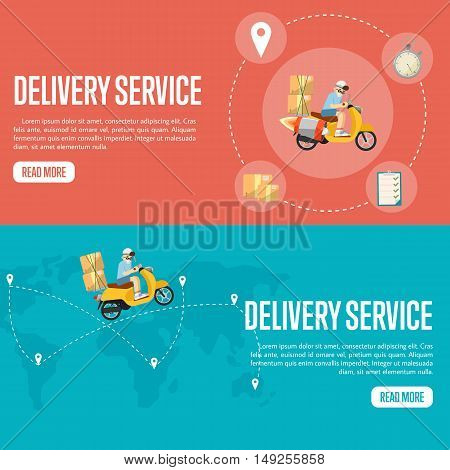 Delivery boy riding yellow scooter with cardboard boxes. Background of world map with pin pointers and routes. Delivery service horizontal website templates, vector illustration. Worldwide shipping.