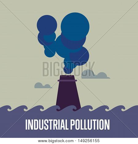 Industrial pollution banner, vector illustration. From pipe factory smoke, polluting the atmosphere. Industrial landscape. Environmental problems concept. Smoking factory concept.