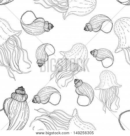 Seamless vector pattern with seashells and jellyfishes on white background. Can be used as adult coloring book.