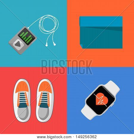 Vector illustration of gym sports equipment icons set. Fitness tracker bracelet, sports shoes, portable musical player with headphones and sports mat on color background. Athletic equipment.