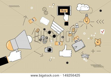 Marketing. Vector illustration of style flat line. Hand holding a megaphone and different icons for digital marketing concepts.
