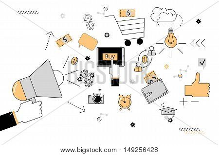 Marketing. Vector illustration of style flat line. Hand holding a megaphone and different icons for digital marketing on a white background