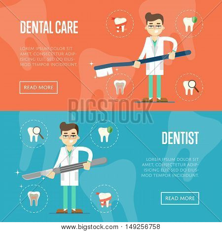 Dental website templates with male cartoon dentist holding big toothbrush or scalpel on color background with teeth round icons, vector illustration. Oral hygiene, tooth health, dental care concept