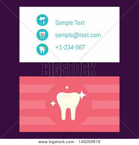 Professional business card template for dentists with tooth symbol on pink background, vector illustration. Dental office or clinic business card. Dental care concept