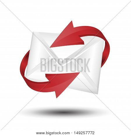 Mail with red circular arrows. e-mail concept.