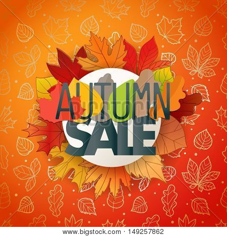 Autumn sale composition. Autumn card template
