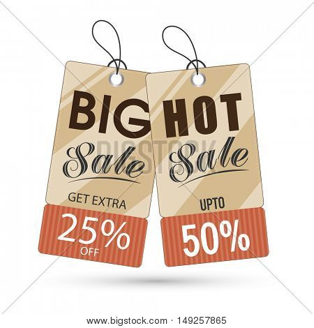 Vintage style, Big Sale Tags with Different Discount Offers. Vector Illustration.