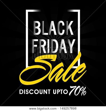 Black Friday Sale Poster, Banner or Flyer with 70% Discount Offer. Creative Vector Illustration.