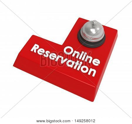 Online Reservation Enter Button isolated on white background. 3D render