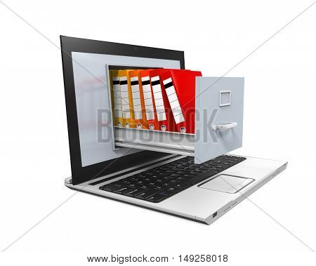Laptop Data Storage isolated on white background. 3D render