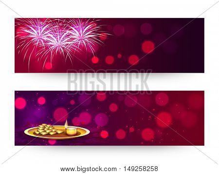 Elegant sparkling, Website Header or Banner Set with fireworks, Sweets and Illuminated Lit Lamp for Happy Diwali Celebration.