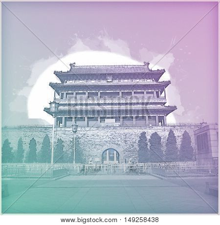 Beijing, China at the Zhengyangmen Gatehouse in Tiananmen Square. Beautiful historical building at sunset. Vintage painting, background illustration