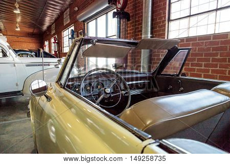 El Segundo, CA, USA - September 26, 2016: 1947 Studebaker Champion displayed at the Automobile Driving Museum in El Segundo, California, United States. Editorial use only.