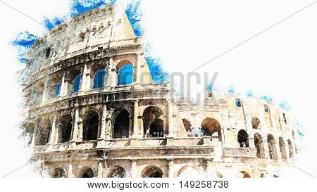 Colosseum, Coliseum in Rome, Italy. Modern painting, background illustration
