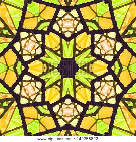 Stained glass pattern. Seamless symmetrical background template.  Multicolored vivid design element. Bright and beautiful kaleidoscopic texture for design uses
