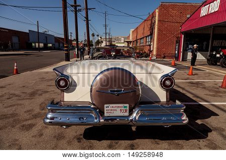 El Segundo, CA, USA - September 26, 2016: 1957 Ford Fairlane 500 Skyliner displayed at the Automobile Driving Museum in El Segundo, California, United States. Editorial use only.