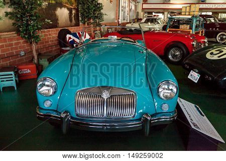 El Segundo, CA, USA - September 26, 2016: Blue 1958 MGA Roadster displayed at the Automobile Driving Museum in El Segundo, California, United States. Editorial use only.