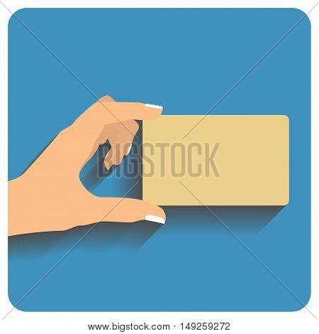 Hand holding credit card - Flat style. Vector illustration