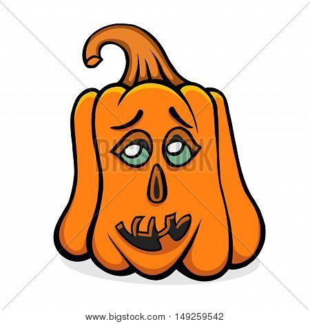 Halloween pumpkin with scary face on white. Vector illusrtration