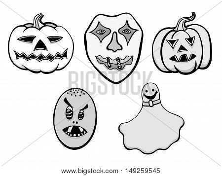 Monochrome Set of Halloween Monsters. Black and white Vector illustration. Isolated on white