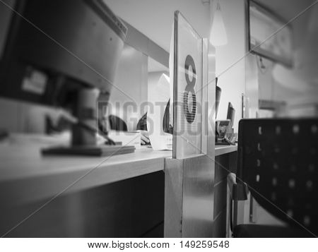 Customer service counter 8 teller in black and white color tone