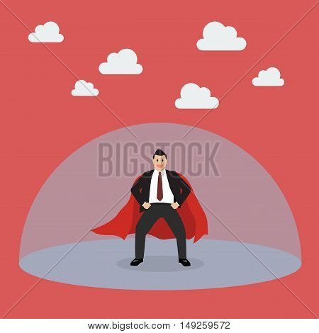 Businessman superhero with protection power. Vector Illustration