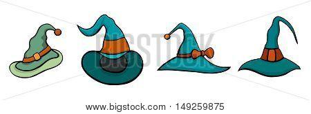 Set of Halloween Hats. Vector halloween hats in cartoon style. Isolated on white illustration