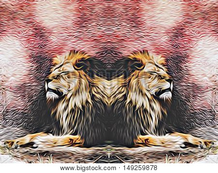 lions sleeping with red and black background