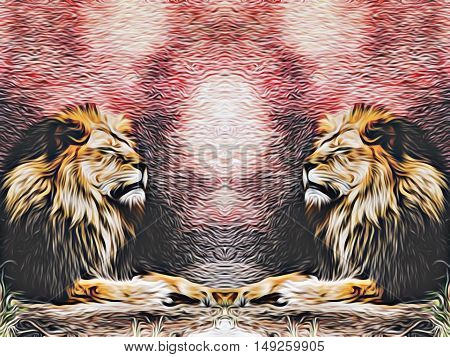 two lions with red and black background