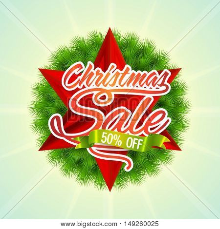 Christmas Sale poster with 50% discount offer.
