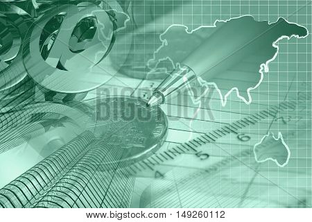 Financial background in greens with money calculator table and pen.