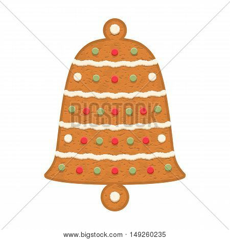 Gingerbread bell, traditional Christmas, cookie vector eps10 illustration