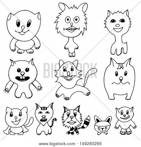 Set of cute cat cartoon. Vector illustration of funny Monochrome cat. Hand drawn art sketch cat.