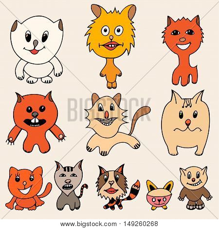 Set of cute cat cartoon. Vector illustration of funny colored cat. Hand drawn art sketch cat.