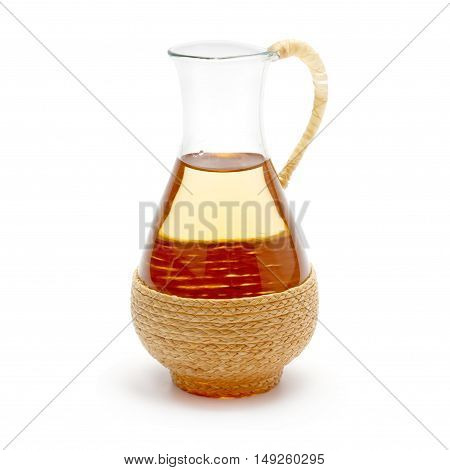 cooking oil in a jug isolated on white background