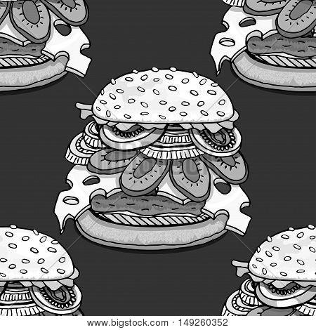 Monochrome Seamless background with cartoon style hamburgers. Vector illustration