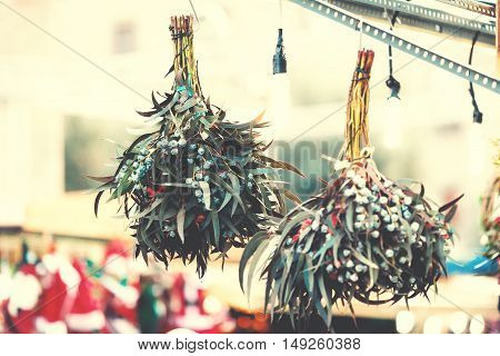 Christmas decorations on the market. Festive Card. Vintage Christmas background